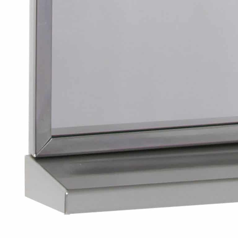Detail view of Bobrick B-166 Stainless Steel Channel Frame Mirror with Shelf
