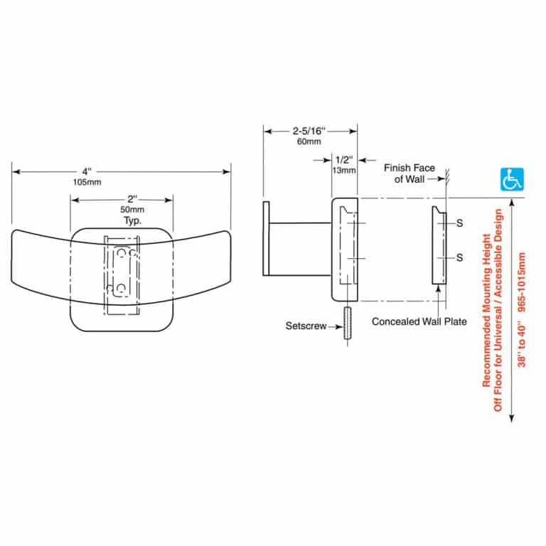 Detailed line drawing of Bobrick B-672 (B-6727) double robe hook