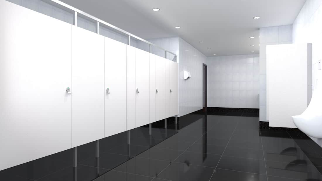 Eclipse Toilet Partition System in a contemporary bathroom