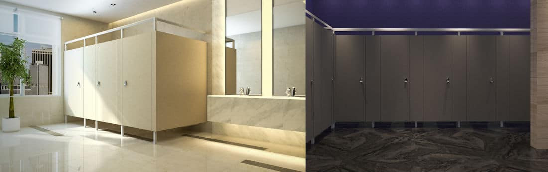Composite of two Eclipse Toilet Partition System installations.
