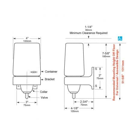 Detailed dimensions of Bobrick B-155 LiquidMate ClassicSeries liquid soap dispenser.