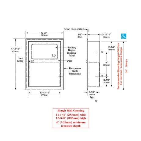 Bobrick Recessed Sanitary Napkin Disposal B-353 line drawing with dimensions.