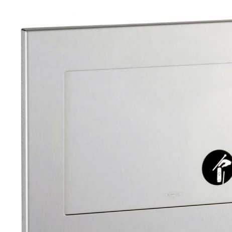 Bobrick Recessed Sanitary Napkin Disposal B-35303 front view, door detail.