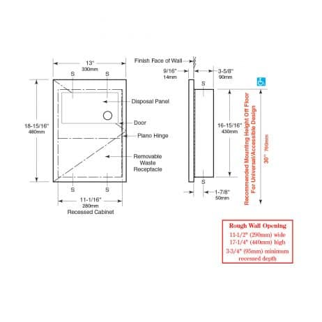 Line drawing and dimensions Bobrick Recessed Sanitary Napkin Disposal B-35303.
