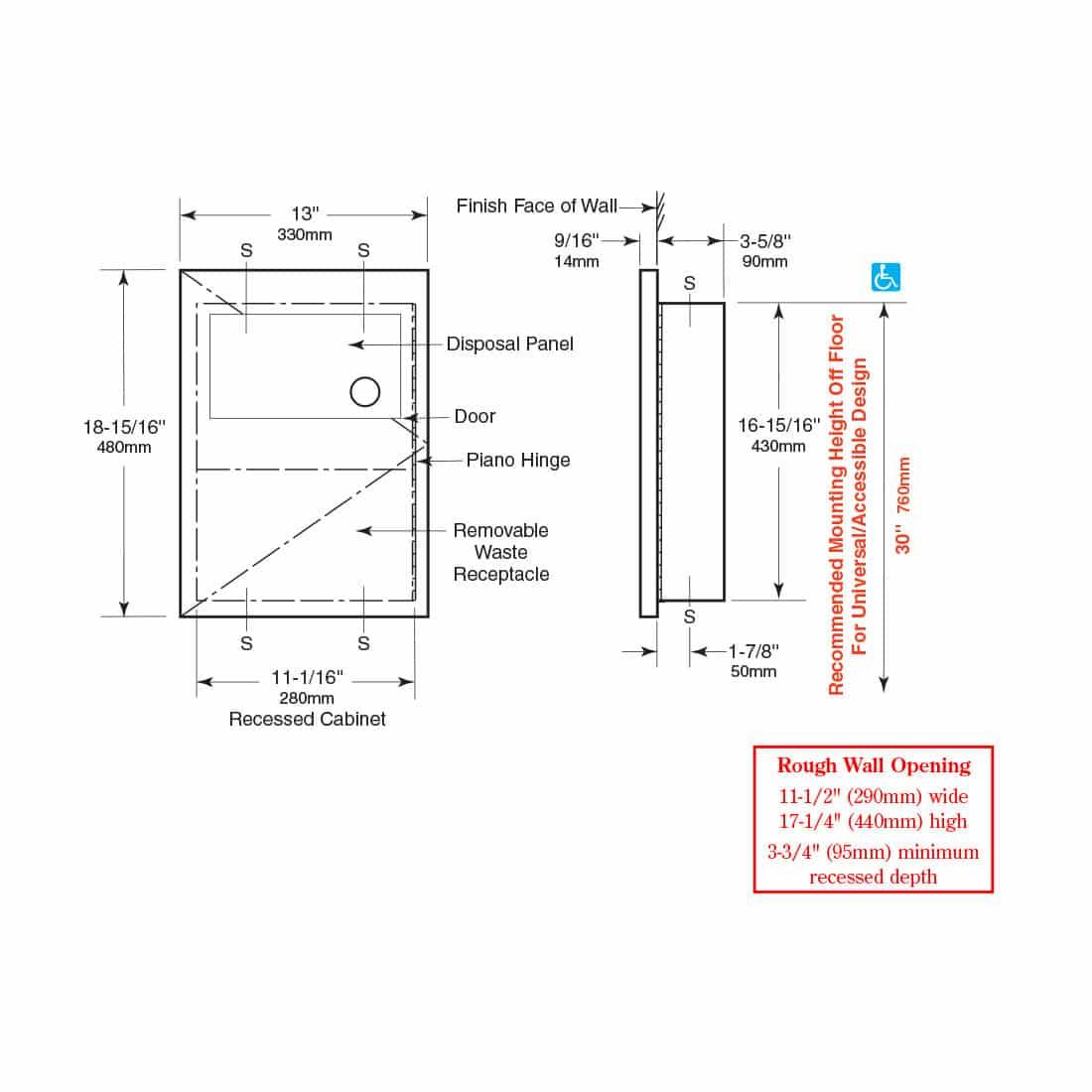Bobrick B-35303 Sanitary Napkin Disposal