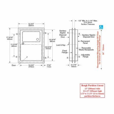 Bobrick Partition Mounted Sanitary Napkin Disposal B-354 line drawing, dimensions.