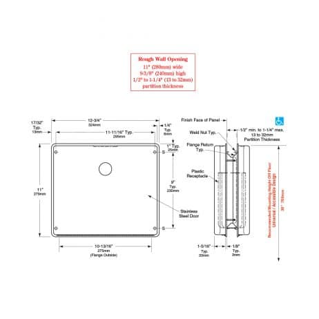 Bobrick Contura Partition Mounted Sanitary Napkin Disposal B-4354 line drawings.