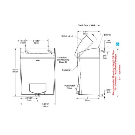 Detailed dimensions of Bobrick B-5050 MatrixSeries surface mounted soap dispenser.