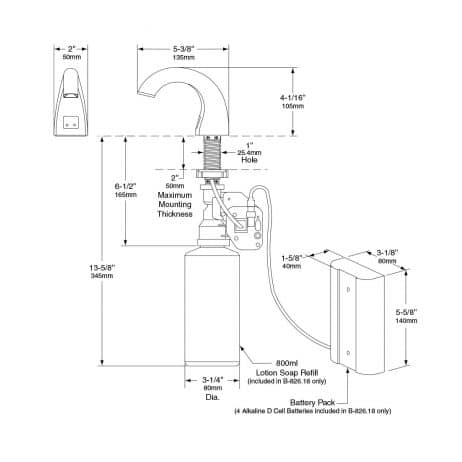 Detailed dimensions of Bobrick B-826 automatic lavatory mounted soap dispenser.