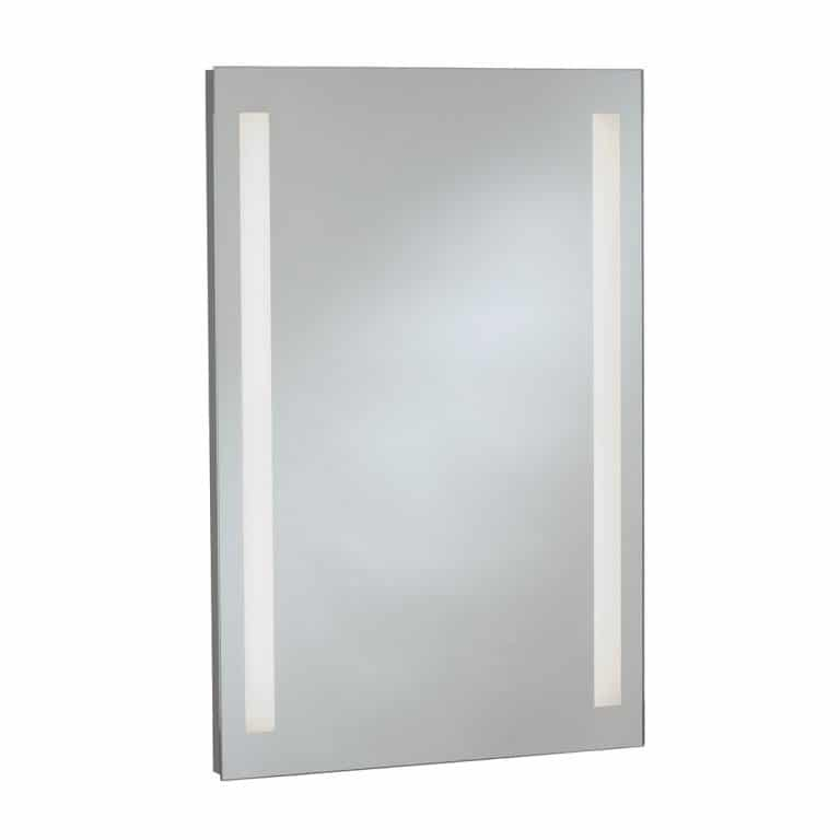 Bobrick B-169 upscale LED side lit mirror pictured against white.