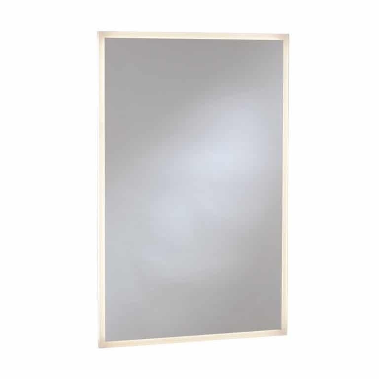Bobrick B-167 LED edge lit mirror, contemporary design, against white.