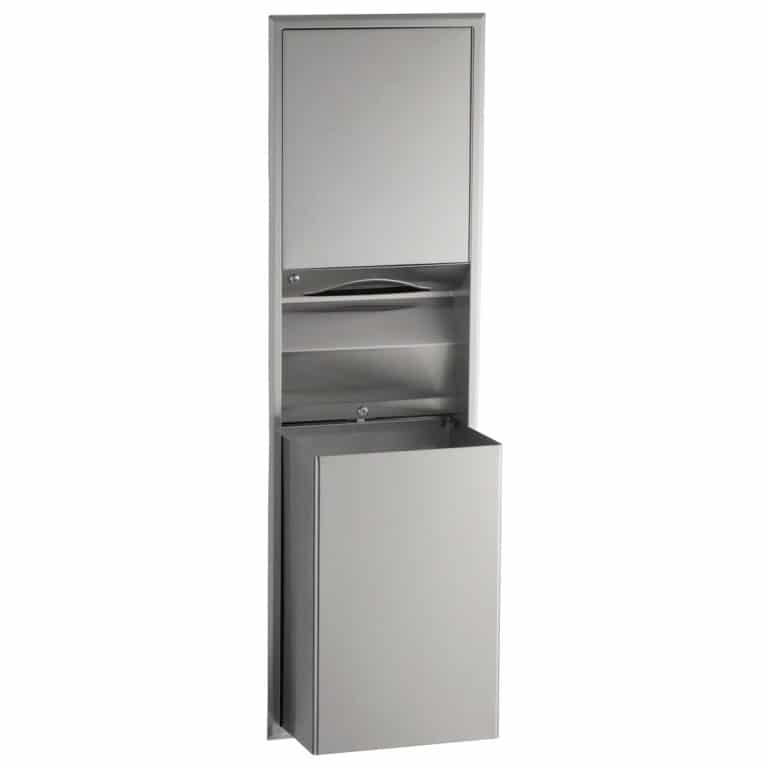 Bobrick B-3947 recessed convertible paper towel dispenser and waste receptacle