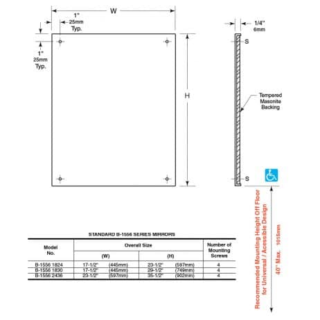Bobrick Frameless Stainless Steel Mirror B-1556 line drawings with dimensions.
