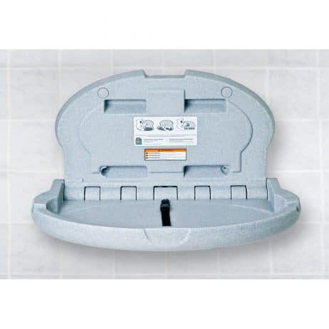 Koala Kare KB208 baby changing station in gray granite, open.