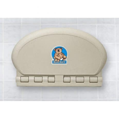 Koala Kare KB208 baby changing station in sandstone, shown closed.