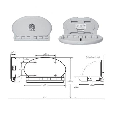Detailed dimensions of the Koala Kare KB208 baby changing station.