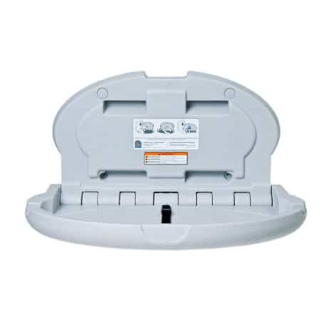 Koala Kare KB208 oval baby changing station in gray, open.