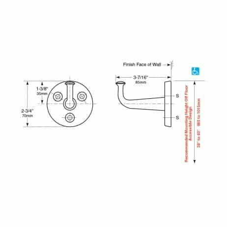 Bobrick Heavy Duty Clothes Hook, Exposed Mounting B-211 line drawing.