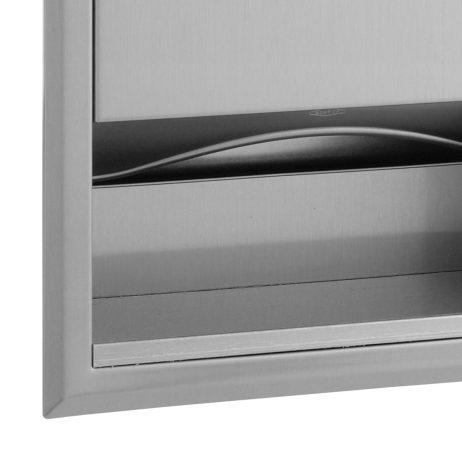 Towel dispenser detail on Bobrick Recessed Paper Towel Dispenser B-359.