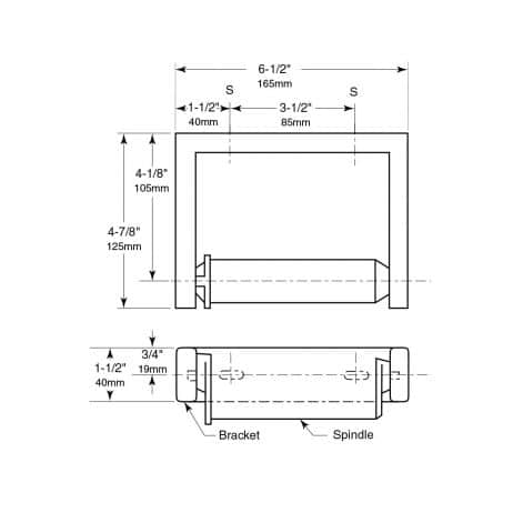 Bobrick Single Roll Toilet Tissue Dispenser detailed line drawing.