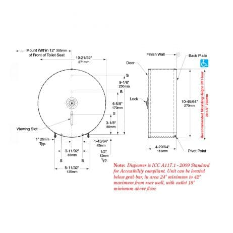 Bobrick Surface Mounted Single Jumbo Roll Toilet Tissue Dispenser B-2890 line drawing.