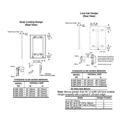 Bobrick Glass Mirror Stainless Steel Angle Frame B-290 dimensions.