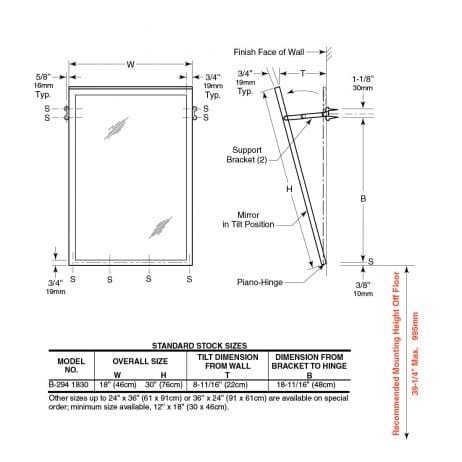 Bobrick Tilt Mirror with Stainless Steel Frame B-294 detailed dimensions.