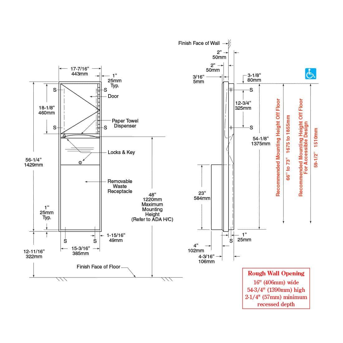 Bobrick Classic Semi Recessed Combo Unit B 3942