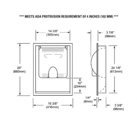 Detailed dimensions of XLERATOR Recess Kit that provides ADA compliance.