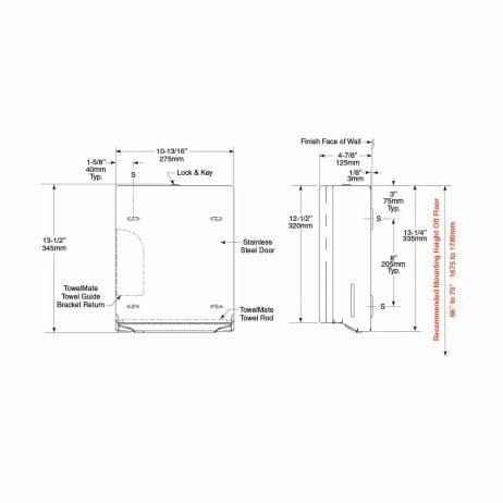 Bobrick Contura Surface Mount Paper Towel Dispenser B-4262 dimension drawing.