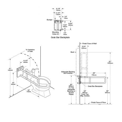 Bobrick Swing Up Grab Bar B-4998 detailed dimensions line drawing.