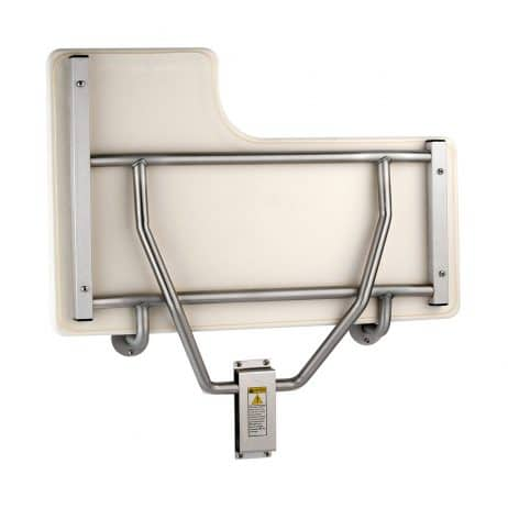 Bobrick Folding Shower Seat with Padded Cushion B-517 folded up.
