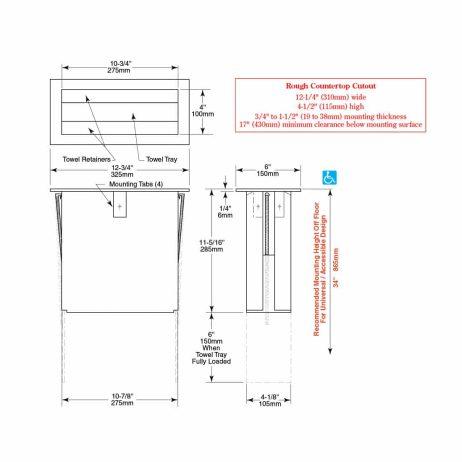 Bobrick TrimLine Countertop Paper Towel Dispenser B-526 line drawings.