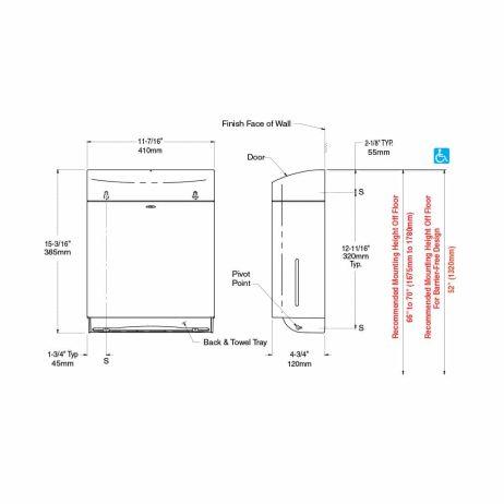 Bobrick Matrix Surface Mount Paper Towel Dispenser B-5262 dimension drawing.