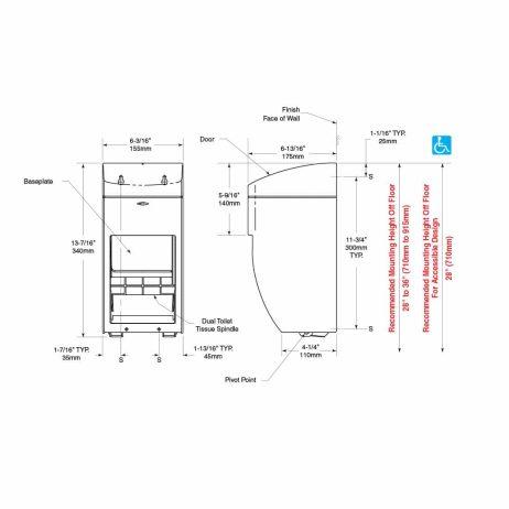 Bobrick Matrix Surface Multi Roll Dispenser B-5288 line drawing, dimensions.