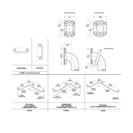 "Bobrick 1 ¼"" Diameter Straight Grab Bar B-5806, dimensional drawing."