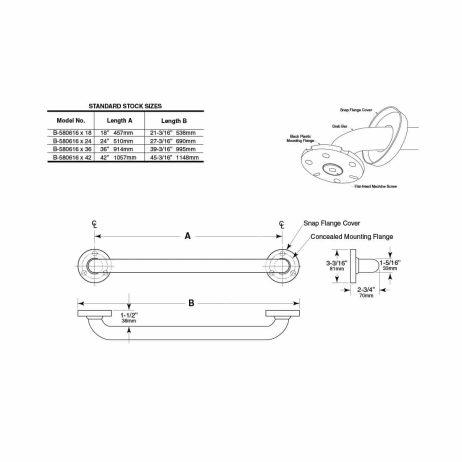 "Bobrick 1 ¼"" Straight Vinyl Coated Grab Bar B-580616 dimensions."