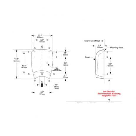 Drawing with detailed dimensions of Bobrick B-7180 QuietDry TerraDry dryer.