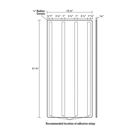 Line drawing of Excel Anti-Microbial Wall Guards.for hand dryers.