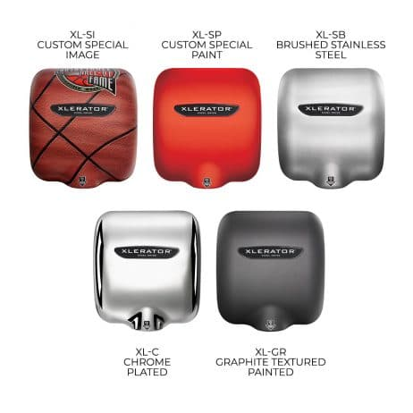Several XLERATOR hand dryer finishes shown against a white background.