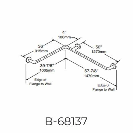 "Bobrick 1 ½"" Diameter Two-Wall Grab Bar B-68137 detailed dimensions line drawing."