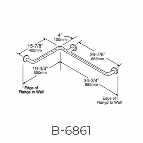 "Bobrick 1 ½"" Diameter Two-Wall Grab Bar B-6861 detailed dimensions line drawing."