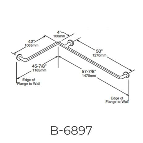 "Bobrick 1 ½"" Diameter Two-Wall Grab Bar B-6897 detailed dimensions line drawing."