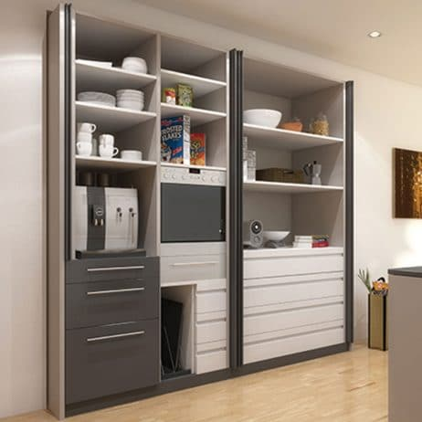 Hawa Concepta pivot slide-in hardware for wood doors fully open.