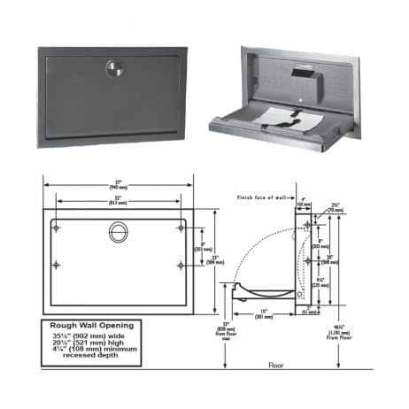 Detailed dimensions of Koala Kare's KB110-SSRE stainless baby changing station.