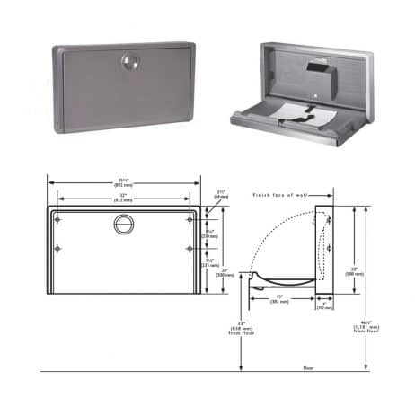 Koala Kare Stainless Wall Mount Baby Changing Station KB110-SSWM, dimensions.