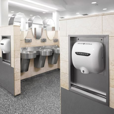 White Epoxy Painted XLERATOR dryers customized with Grand Central branding.
