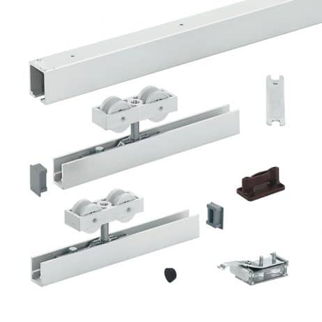 Photograph of Hawa Junior 120/B sliding door hardware system.