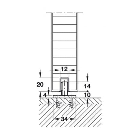 Line drawing, Hawa Junior 120/B floor guide side view.
