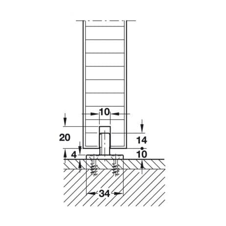 Line drawing, Hawa Junior 120/B no floor guide rail.